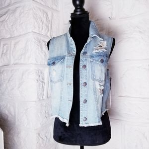 Forever 21 Distressed Denim Vest, Sz Small